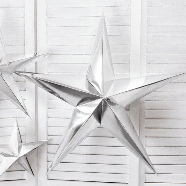 Giant Silver Paper Star Christmas Party Decoration
