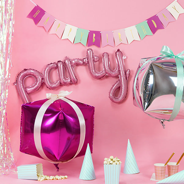 Fun Party Script Pink Foil Party Balloon Hello Party