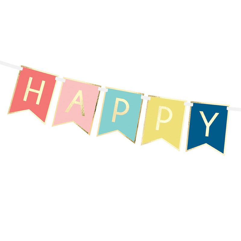 Happy Birthday Flag Banner  Garland Party Deco - Hello Party