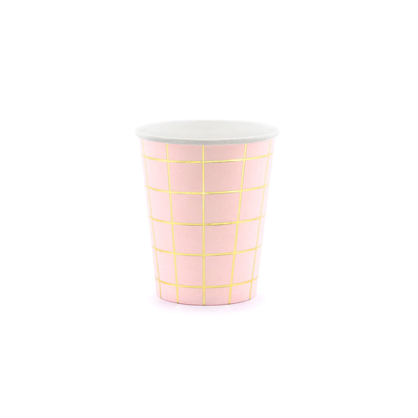 Gold Grid Pink Cups  Party Cups Party Deco - Hello Party