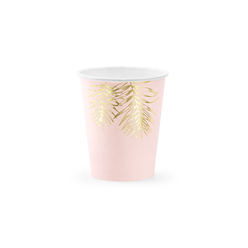 Gold Leaf Pink Cups  Party Cups Party Deco - Hello Party