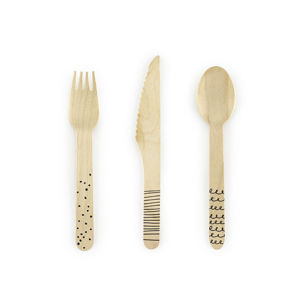 Black Doodle Wooden Cutlery Set  Cutlery Party Deco - Hello Party