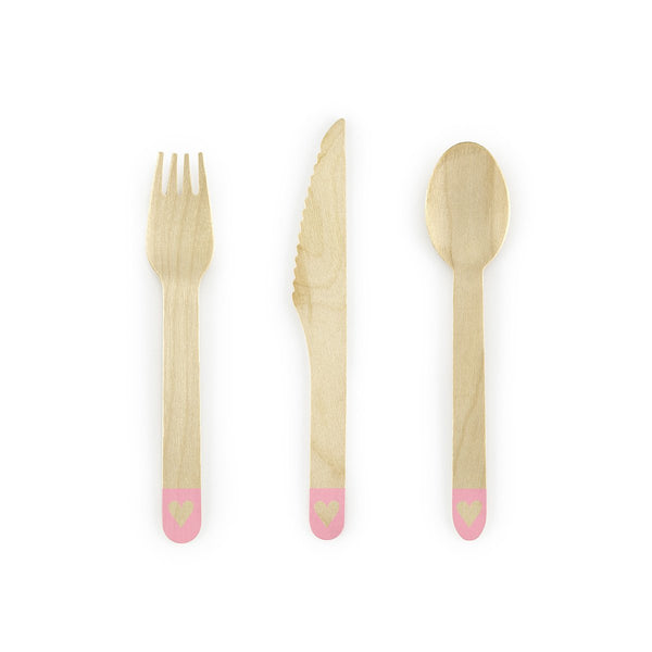 Pink Heart Wooden Cutlery Set | Stylish & Fun Party Tableware