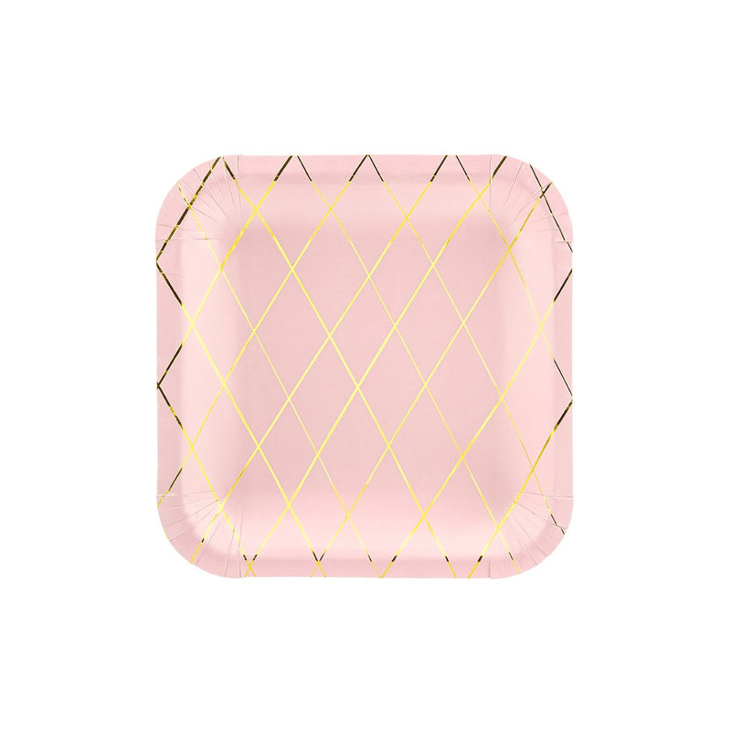 Gold Grid Pink Plates  Party Plates Party Deco - Hello Party