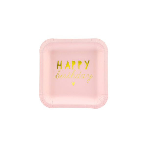 Little Pink Happy Birthday Plates  Party Plates Party Deco - Hello Party