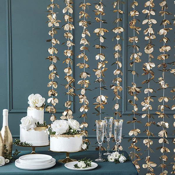 Gold Flowers Curtain Backdrop