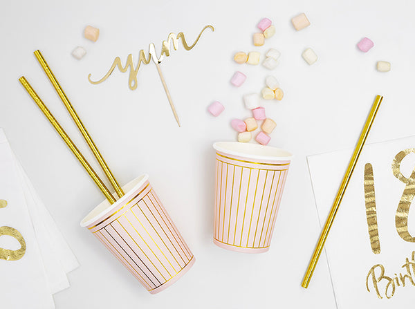 Luxe Golden Striped Pink Cups