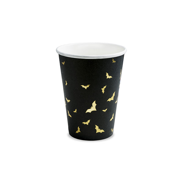Black Paper Cups with Golden Bats