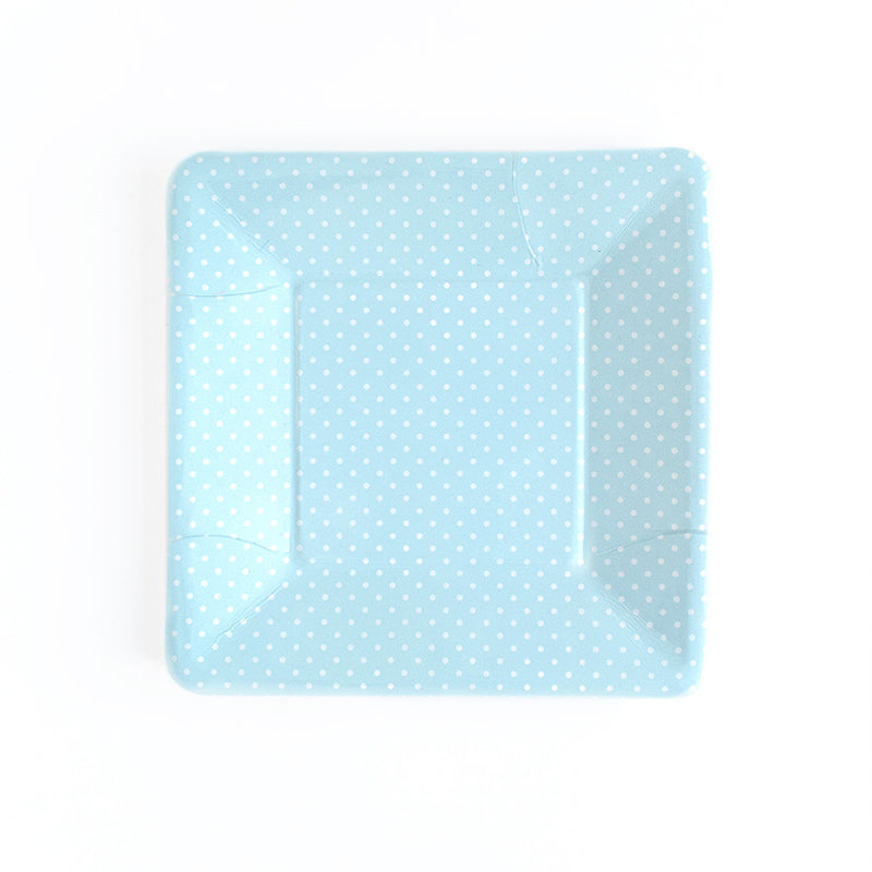 Blue Polka Dot Square Paper Plates  Party Plates Neviti - Hello Party
