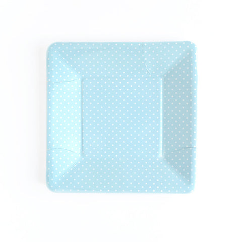 8 x Paper Plates - Blue Polka Dot Square - Hello Party - All you need to make your party perfect!