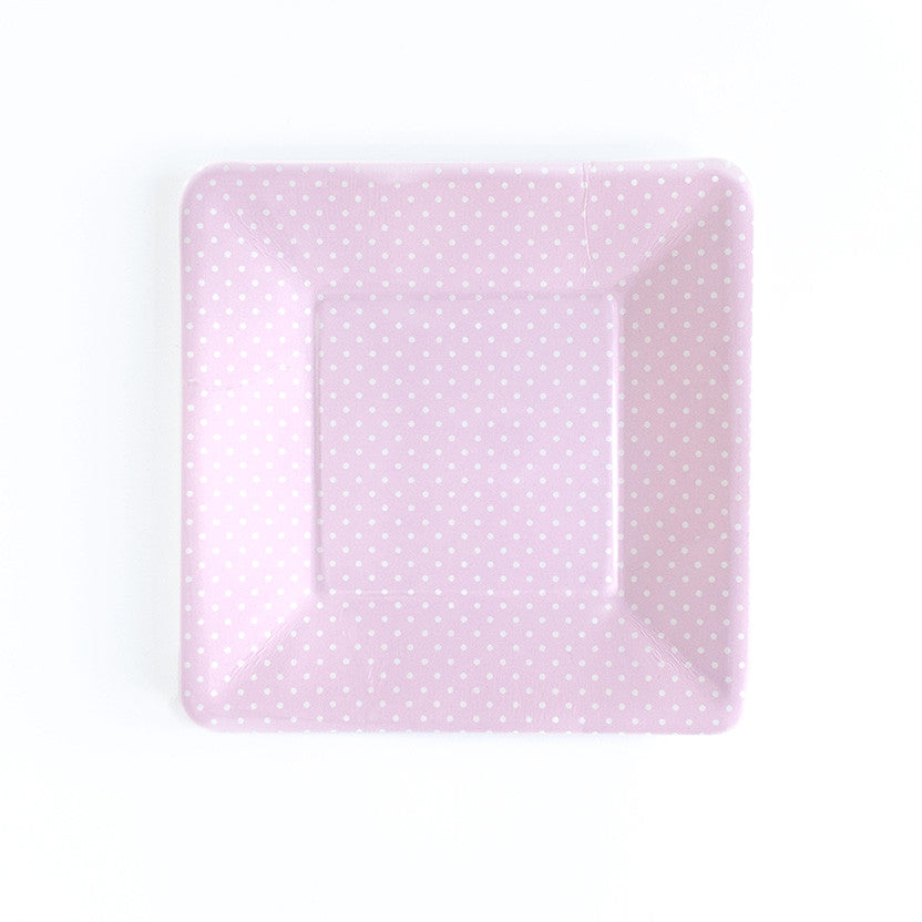 8 x Paper Plates - Pink Polka Dot Square - Hello Party - All you need to make your party perfect!