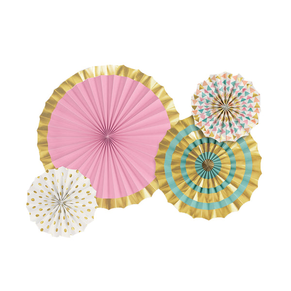 Pastel & Gold Paper Fan Set