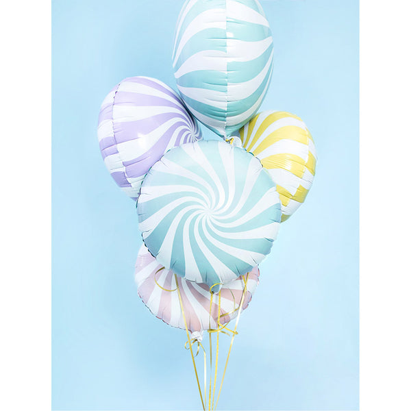 Pastel Candy Swirl Round Foil Christmas Party Balloon