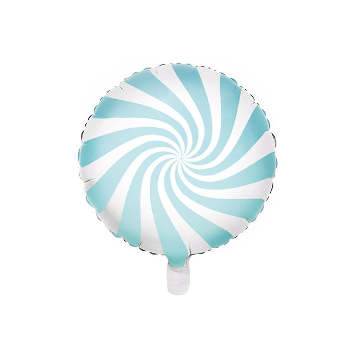 Pastel Blue Candy Swirl Round Foil Christmas Party Balloon