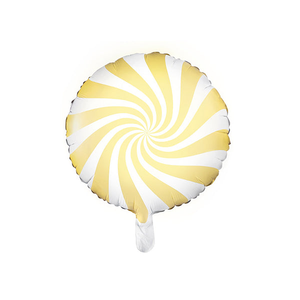 Pastel Yellow Candy Swirl Round Foil Christmas Party Balloon