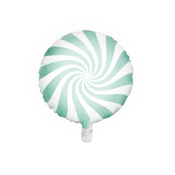 Pastel Mint Candy Swirl Round Foil Balloon
