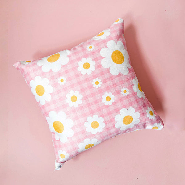 Customisable Gingham Daisy Cushion