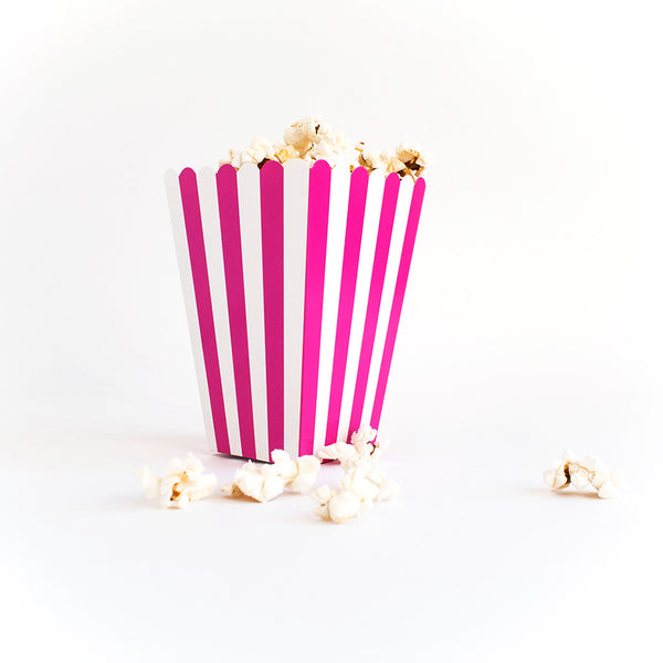 Pink striped popcorn box  Popcorn Box HelloPartyUK - Hello Party