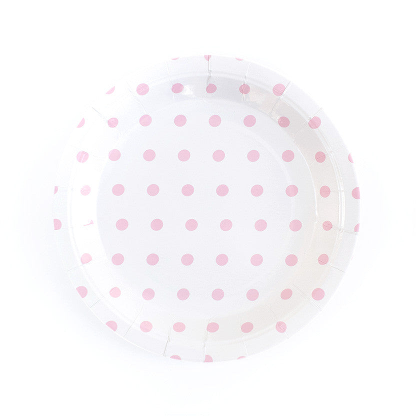 Pastel Pink Spotty Round Paper Plates