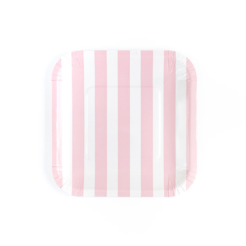 Pastel Pink Sailor Striped Square Paper Plates