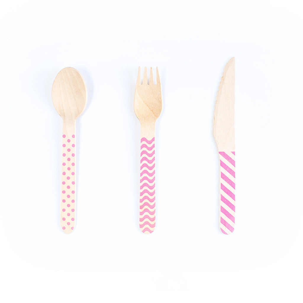 Wooden Cutlery Set - Pink