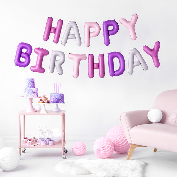 Pinks & Purples Happy Birthday Foil Balloon Kit
