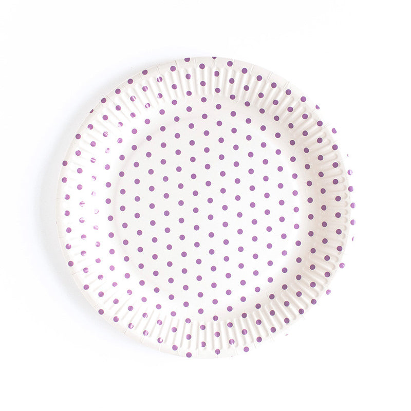Purple Dotty Paper Plates  Party Plates Neviti - Hello Party