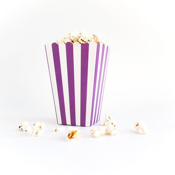 Purple striped popcorn box  Popcorn Box HelloPartyUK - Hello Party