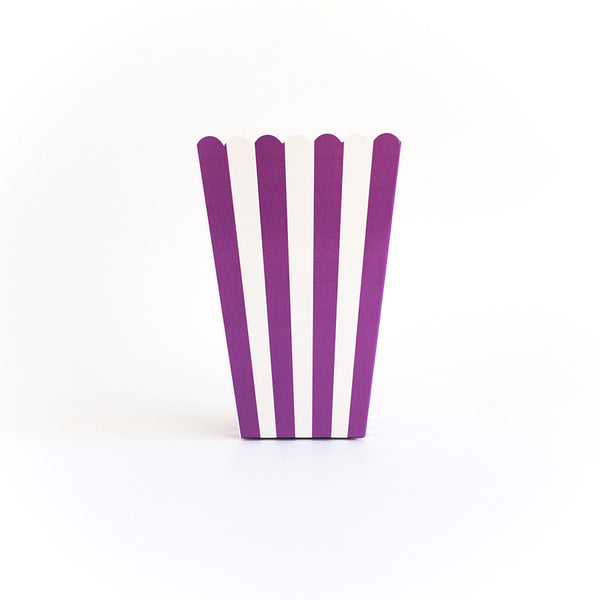 Purple striped popcorn box
