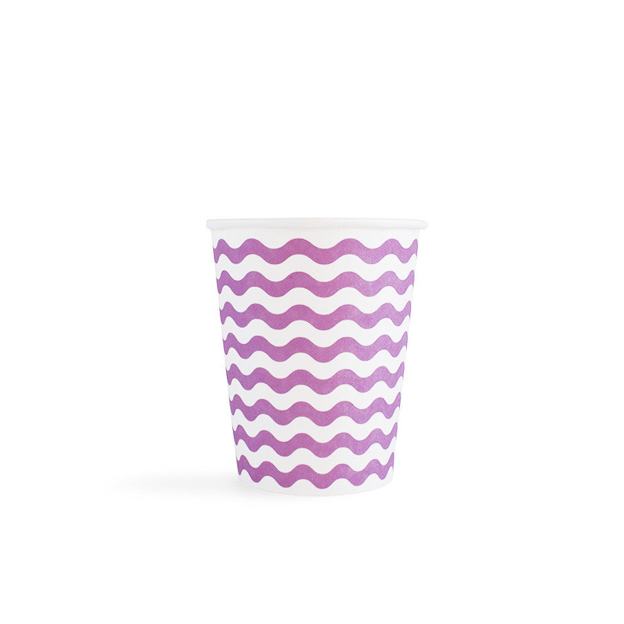 Carnival - Paper Cups - Waves Purple- 8 - Hello Party - All you need to make your party perfect!