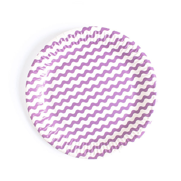 Purple Wavy Paper Plates  Party Plates Neviti - Hello Party