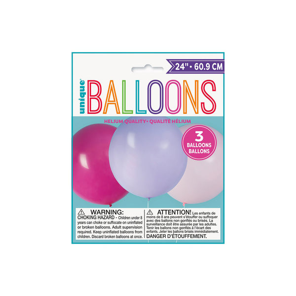 Pink and Purple Big Round Balloons (3 pack)