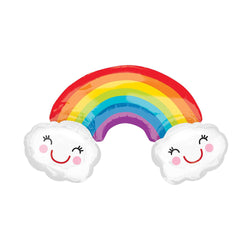 Big Rainbow With Smiley Clouds Shaped Foil Balloon  Balloons amscan - Hello Party