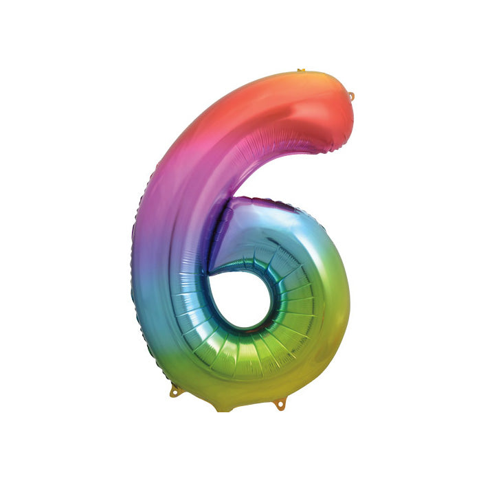 "Jumbo Rainbow Number Foil Balloons (34"")  Balloons Unique - Hello Party"