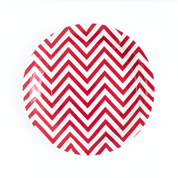 Red Chevron Round Paper Plates  Party Plates Hello Party Essentials - Hello Party