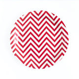 Red Chevron Round Paper Plates