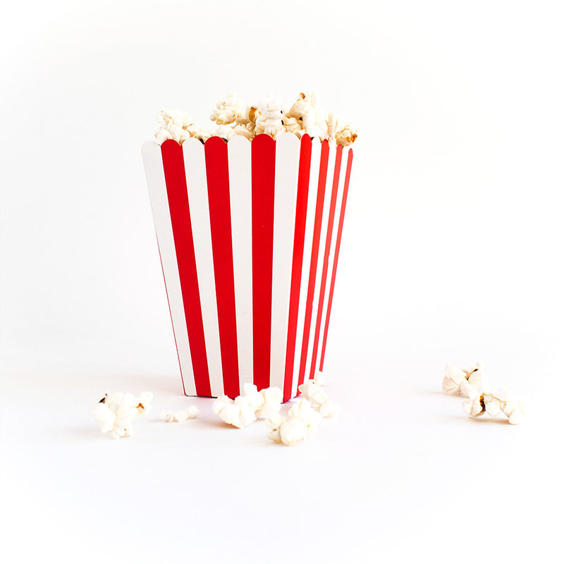 Red striped popcorn box  Popcorn Box HelloPartyUK - Hello Party