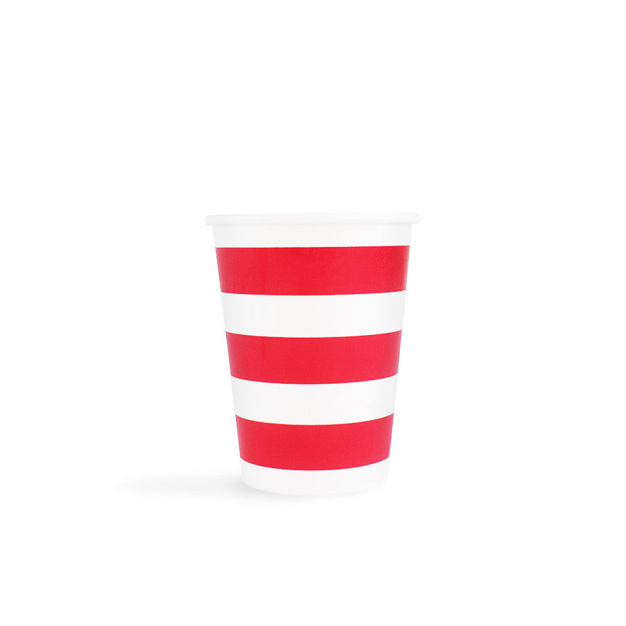 Red Sailor Stripes Cups
