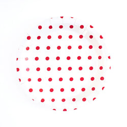 Red Spotty Round Paper Plates  Party Plates Hello Party Essentials - Hello Party