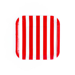 Red Sailor Striped Square Paper Plates