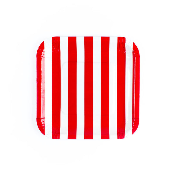 Red Sailor Striped Square Paper Plates  Party Plates Hello Party Essentials - Hello Party
