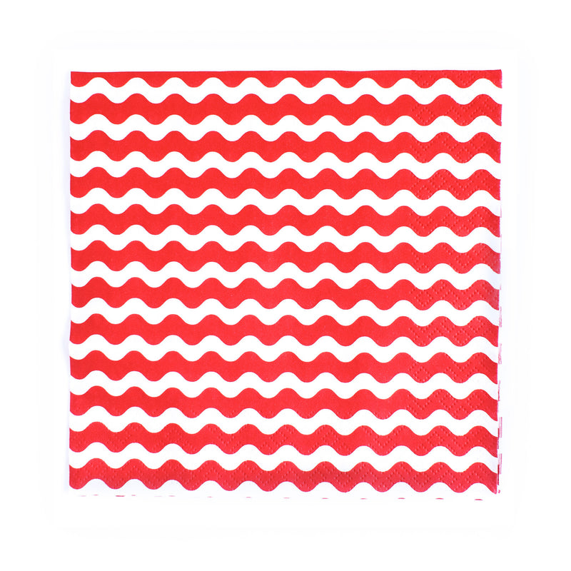 Carnival - Napkins - Waves Red - 20 - Hello Party - All you need to make your party perfect!