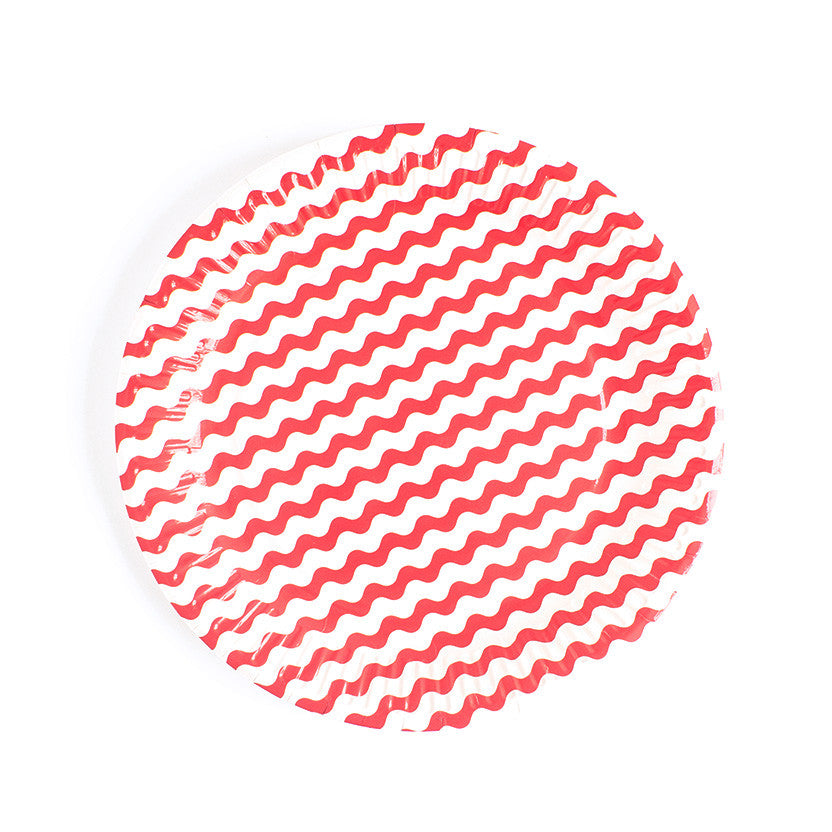 Carnival - Paper Plates - Waves Red- 8 - Hello Party - All you need to make your party perfect!