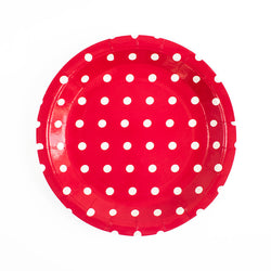 Red with white dots Round Paper Plates  Party Plates Hello Party Essentials - Hello Party