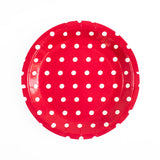 Red with white dots Round Paper Plates