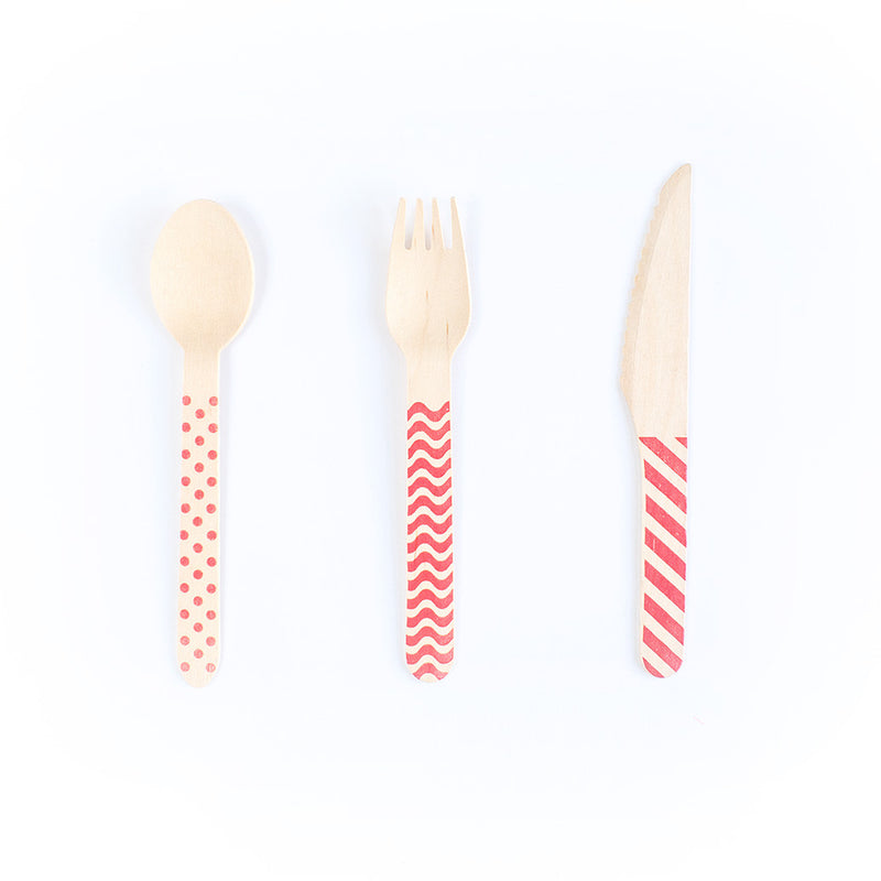 Wooden Cutlery Set - Red  Party Cutlery HelloPartyUK - Hello Party