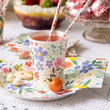 Pretty floral party plates & cups - perfect party table styling