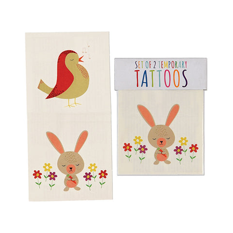 Set Of Two Tattoos Bunny And Bird