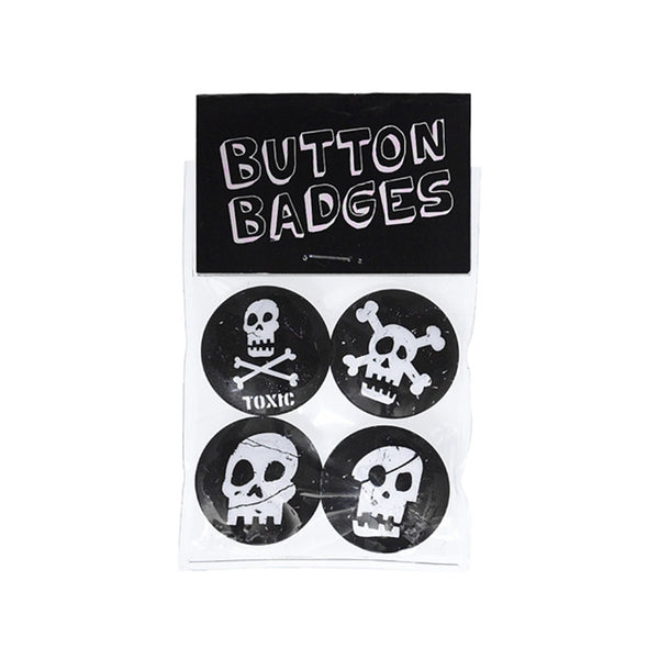Set of 4 Skull Badges  Party Favour Hello Party Essentials - Hello Party