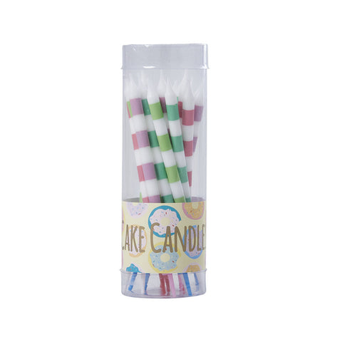 16 Striped Cake Candles in Assorted Colours - Hello Party - All you need to make your party perfect!